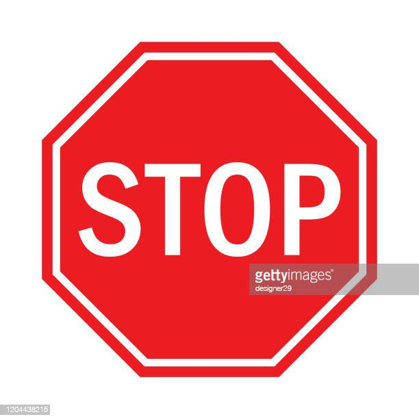 stop sign flat design. - stop sign stock illustrations