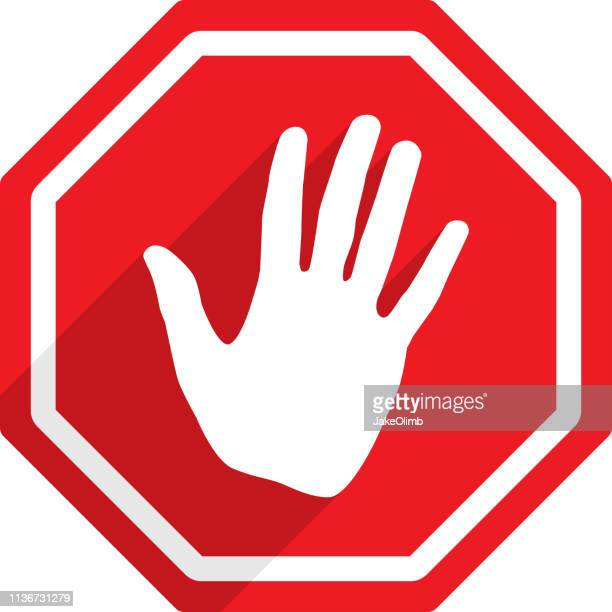 stop sign hand icon silhouette - wrong way stock illustrations, clip art, cartoons, & icons