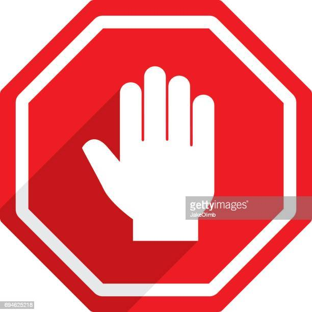stop sign hand icon - wrong way stock illustrations, clip art, cartoons, & icons