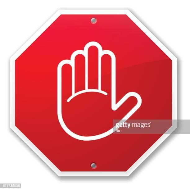 illustrations, cliparts, dessins animés et icônes de panneau d'arrêt main - panneau stop