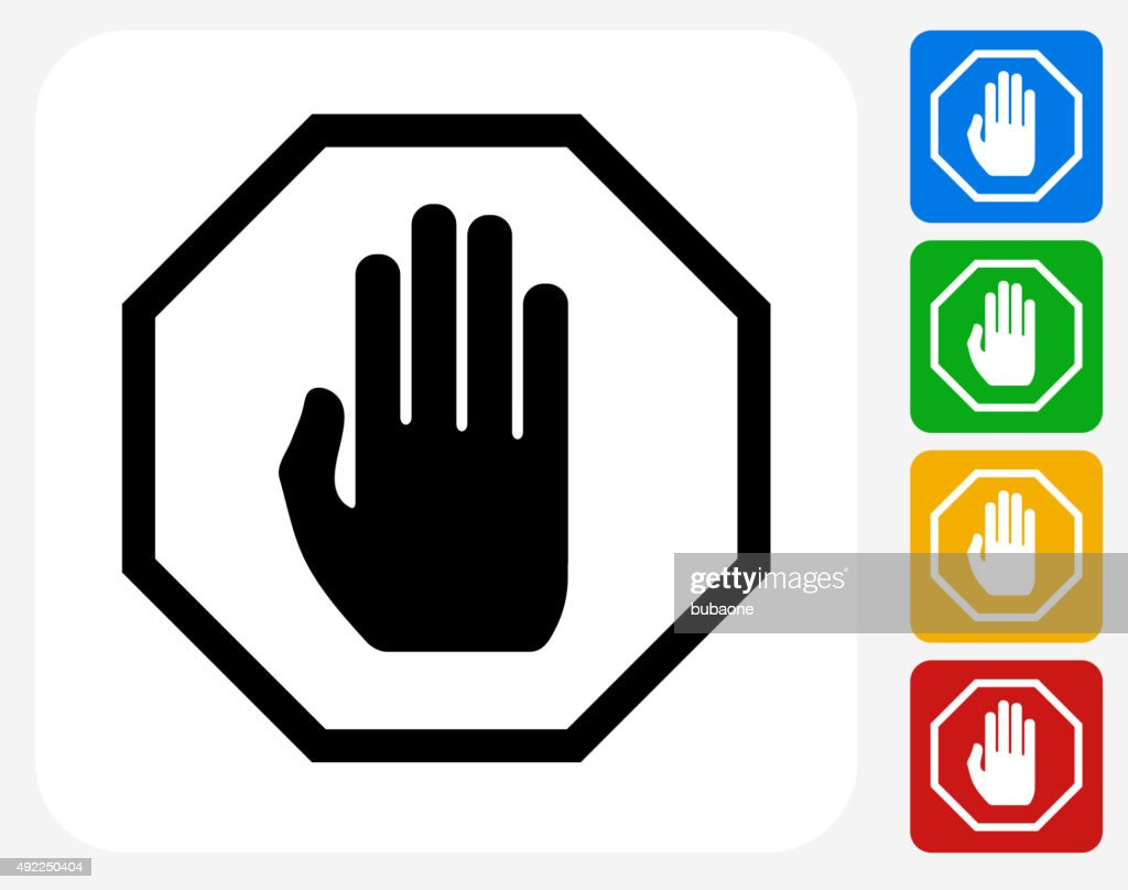 Stop Sign Icon Flat Graphic Design