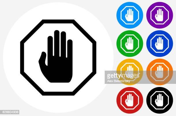 illustrations, cliparts, dessins animés et icônes de stop sign icon on flat color circle buttons - panneau stop