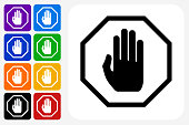 Stop Sign Icon Square Button Set