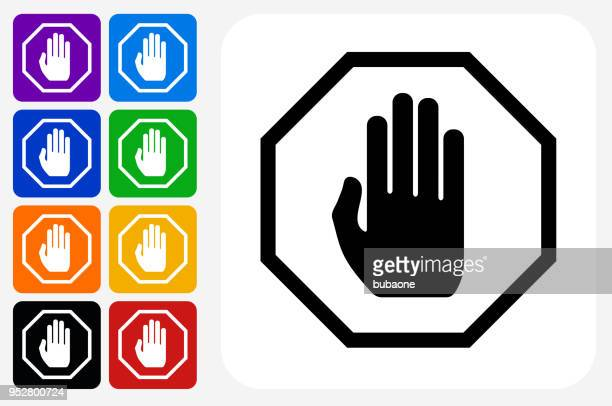 stop sign icon square button set - stop sign stock illustrations