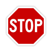 Stop sign icon with shadow - Vector