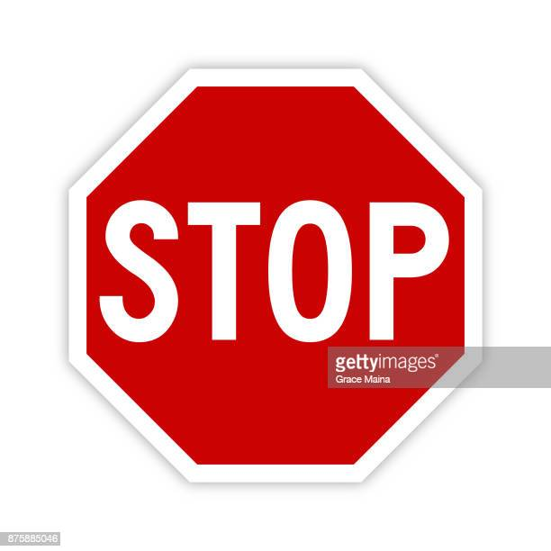 stop sign icon with shadow - vector - sign stock illustrations
