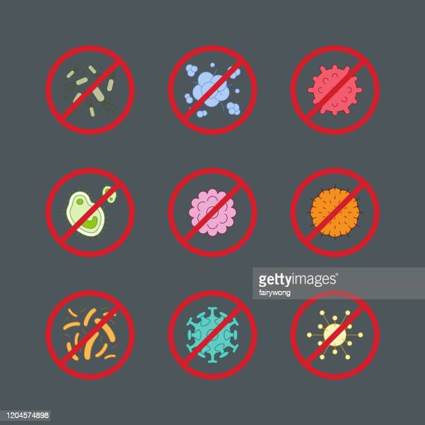 stop sign of virus, bacteria, germs and microbe,vector icon - high scale magnification stock illustrations