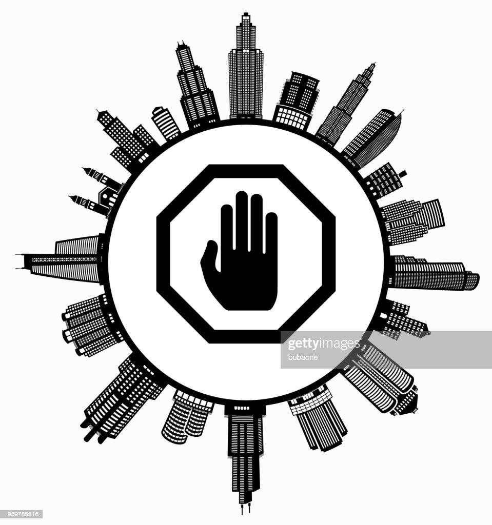Stop-Schild auf modernen Stadtbild Skyline Hintergrund : Stock-Illustration