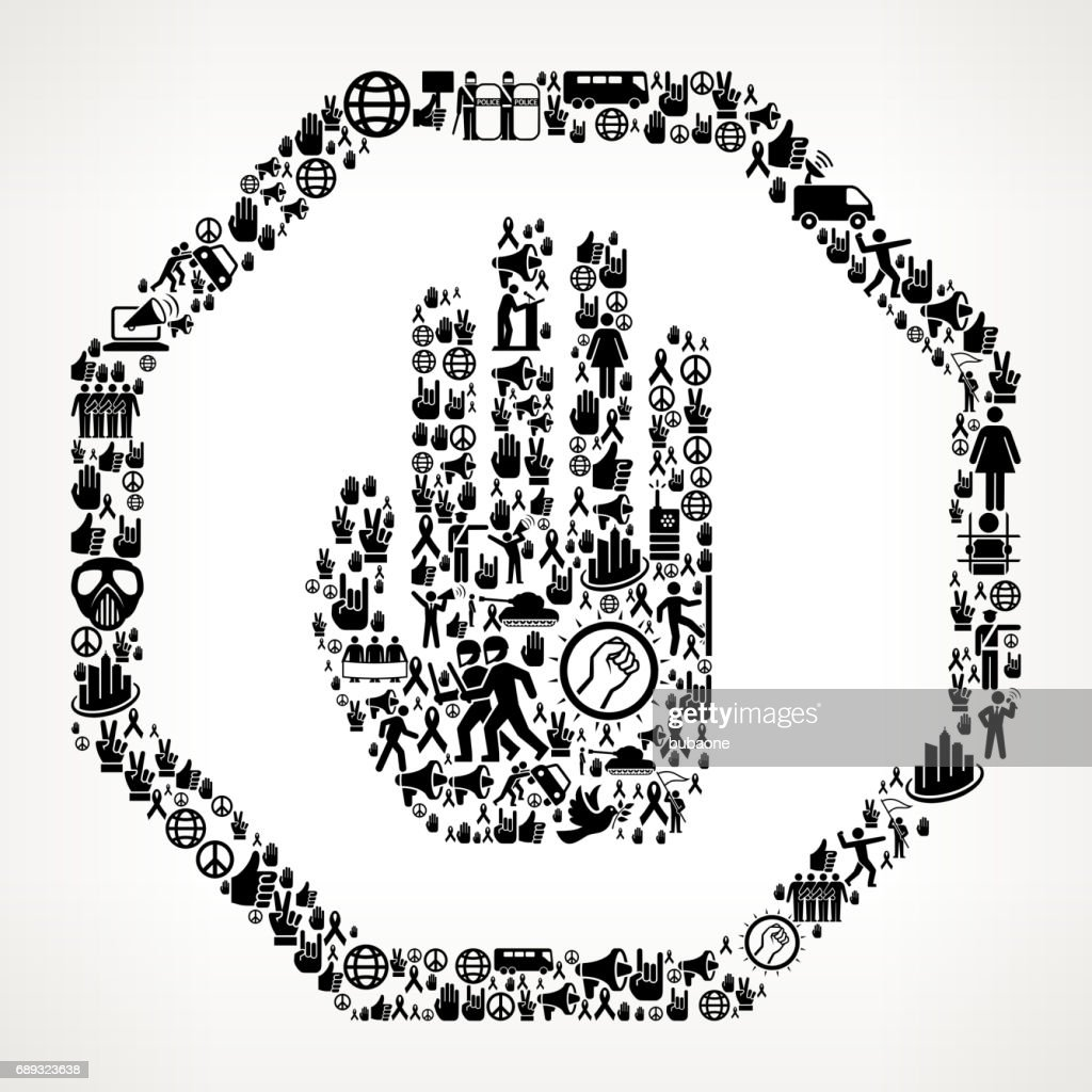 Stop Sign  Protest and Civil Rights Vector Icon Background : Stock Illustration