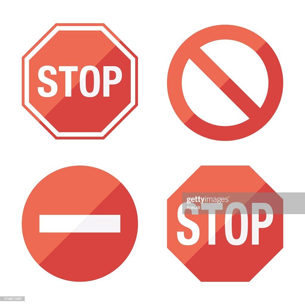 Stop sign, set. Flat design