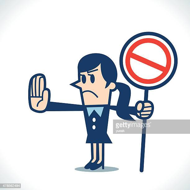 stop sign - refusing stock illustrations, clip art, cartoons, & icons