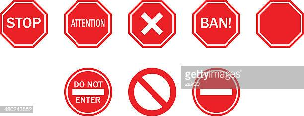 stop sign - entrance sign stock illustrations