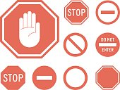 Stop signs collection in red and white