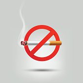 Stop smoking, cigarette burning prohibition sign, vector