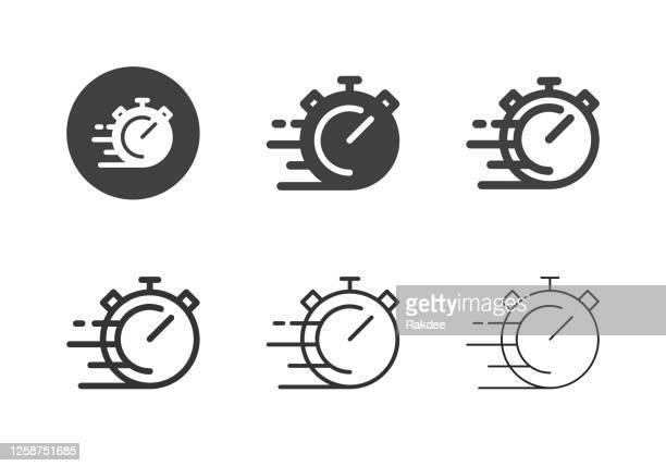 stop speed icons - multi-serie - stoppuhr stock-grafiken, -clipart, -cartoons und -symbole