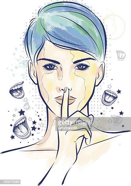 ilustrações, clipart, desenhos animados e ícones de parada de falar - silêncio