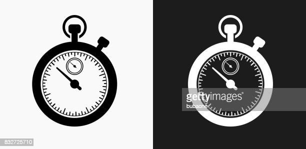 Stop Watch Icon on Black and White Vector Backgrounds