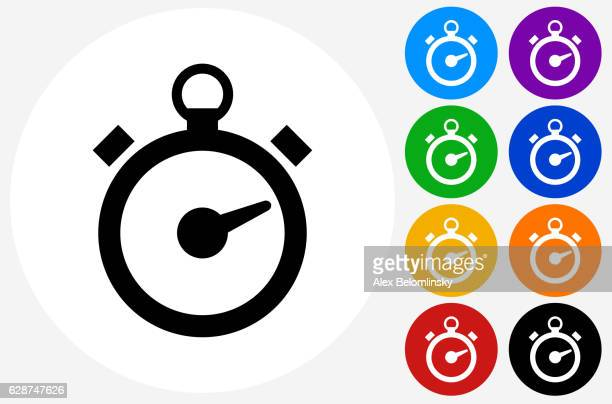 Stop Watch Icon on Flat Color Circle Buttons