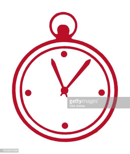 ilustraciones, imágenes clip art, dibujos animados e iconos de stock de cronómetro - reloj de bolsillo