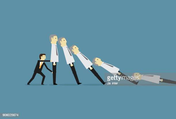stopping businessman domino effect - domino effect stock illustrations