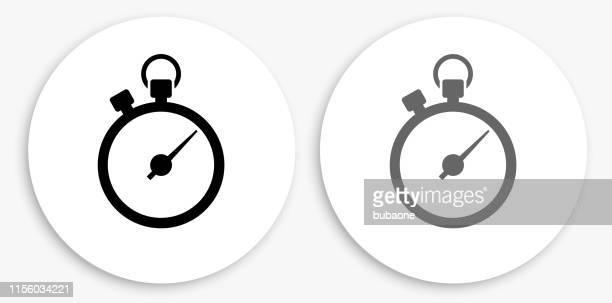 stoppuhr schwarz-weiß runde symbol - stoppuhr stock-grafiken, -clipart, -cartoons und -symbole
