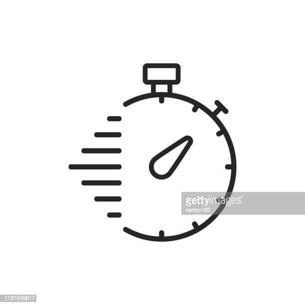 stopwatch, delivery line icon. editable stroke. pixel perfect. for mobile and web. - time stock illustrations