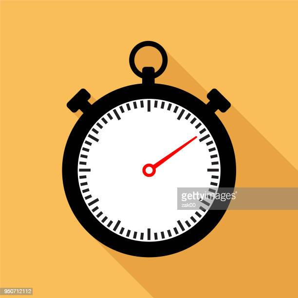 stopwatch icon flat graphic design with long shadow - sport set competition round stock illustrations