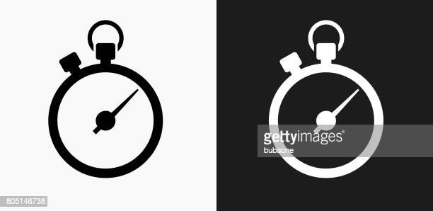 Stopwatch Icon on Black and White Vector Backgrounds