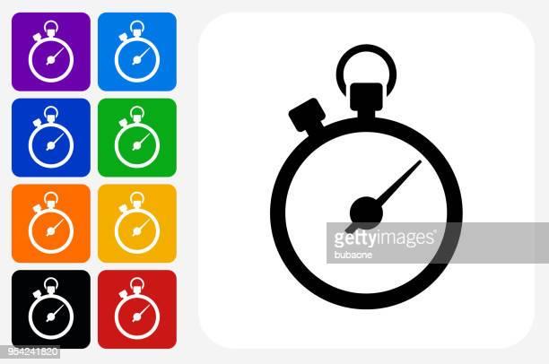 ilustrações, clipart, desenhos animados e ícones de conjunto de botão quadrado de ícone de cronômetro - ampulheta