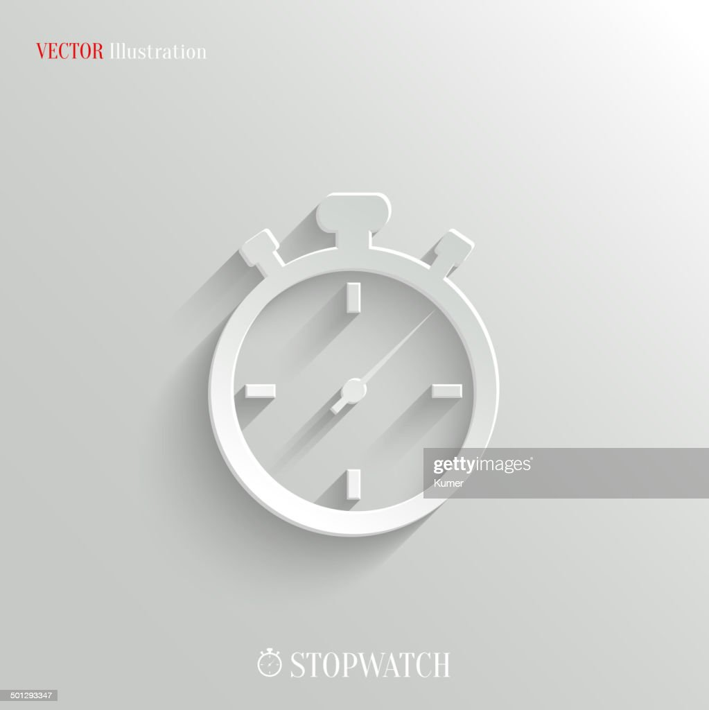 Stopwatch icon - vector white app button