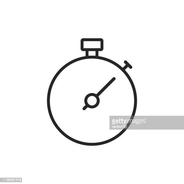 ilustraciones, imágenes clip art, dibujos animados e iconos de stock de icono de la línea del cronómetro. trazo editable. pixel perfect. para móvil y web. - reloj de bolsillo