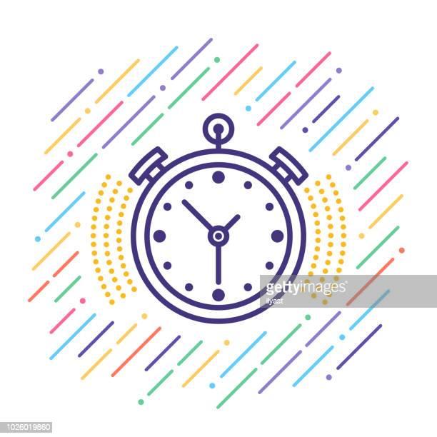 ilustrações, clipart, desenhos animados e ícones de cronômetro linha ícone - segundo tempo esporte