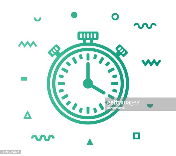 stopwatch line style icon design - letrac stock illustrations