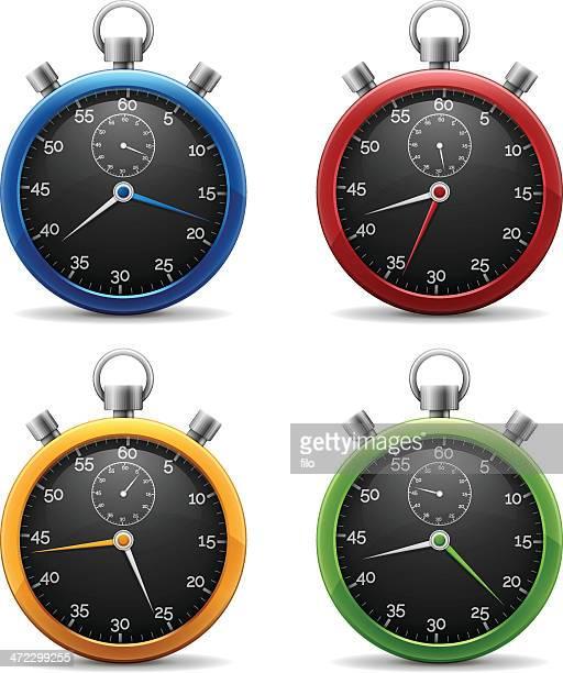 ilustrações, clipart, desenhos animados e ícones de cronómetros - cronômetro instrumento para medir o tempo
