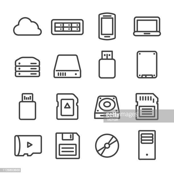 storage and memory icons - line series - floppy disk stock illustrations, clip art, cartoons, & icons