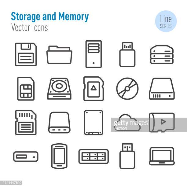 storage and memory icons - vector line series - storage room stock illustrations, clip art, cartoons, & icons