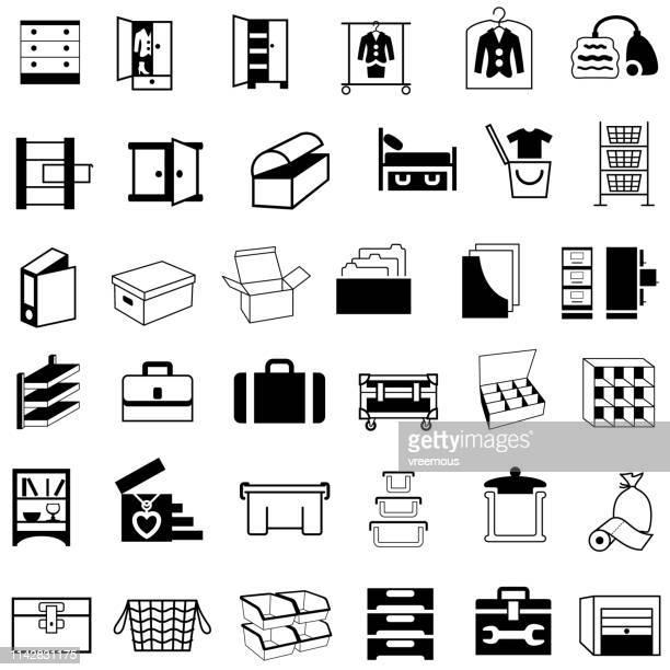 貯蔵容器、箱および家具のアイコン - トレイ点のイラスト素材/クリップアート素材/マンガ素材/アイコン素材