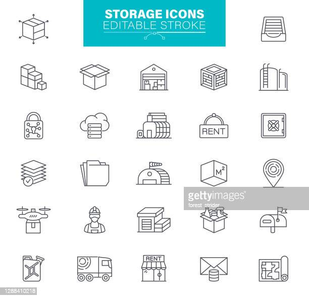 ストレージアイコン編集可能ストローク - 荷積み場点のイラスト素材/クリップアート素材/マンガ素材/アイコン素材