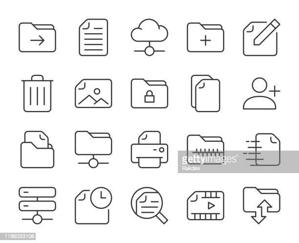 ストレージ管理 - ライトラインアイコン - ファイル点のイラスト素材/クリップアート素材/マンガ素材/アイコン素材