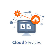 Storage solution, cloud services and technology, data exchange, online network concept