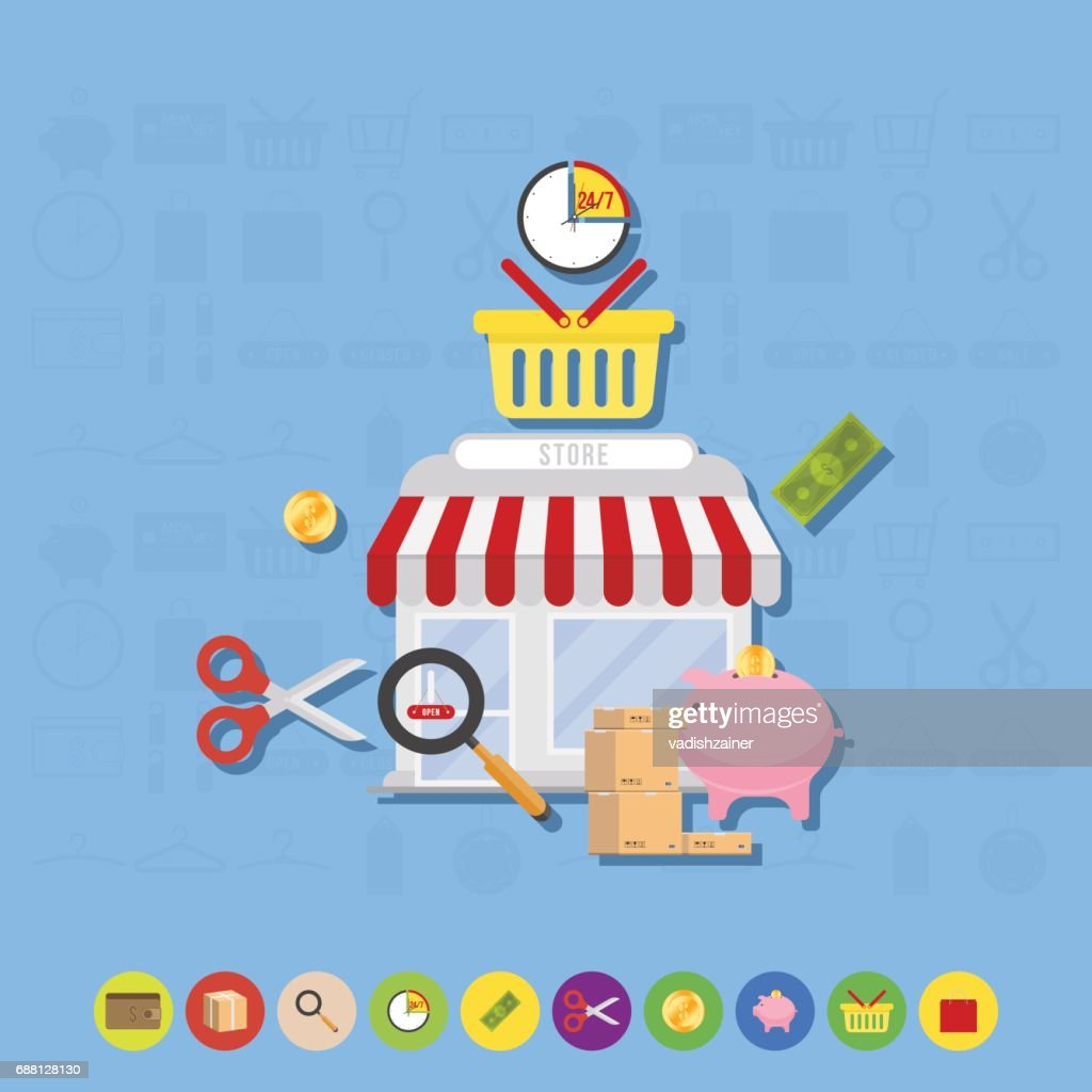 Store and icons flat vector illustrations.