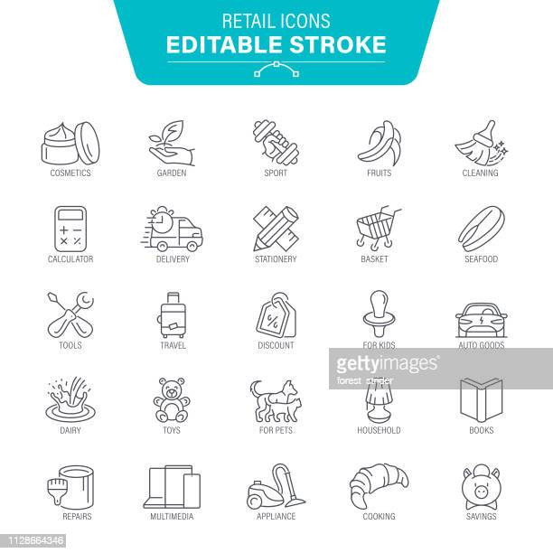 store and shop line icons - recreational pursuit stock illustrations, clip art, cartoons, & icons