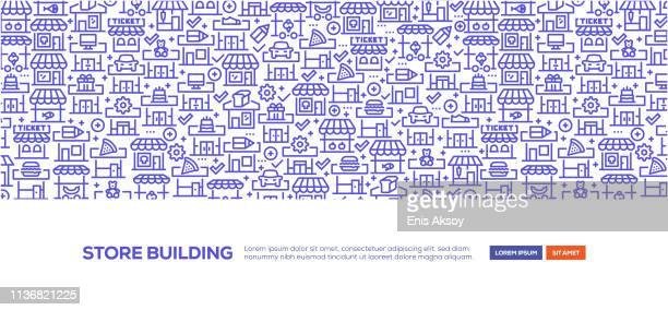 store building banner - small business stock illustrations