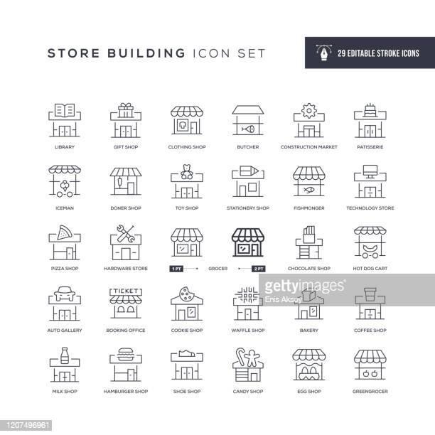 店舗ビルディング編集可能ストロークラインアイコン - キオスク点のイラスト素材/クリップアート素材/マンガ素材/アイコン素材