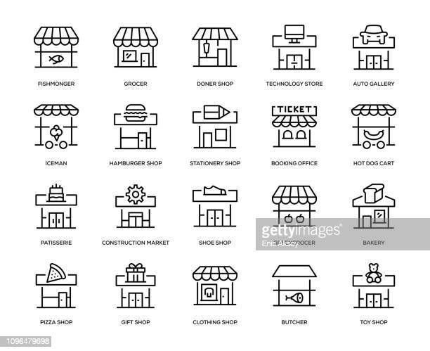 store building icon set - small business stock illustrations