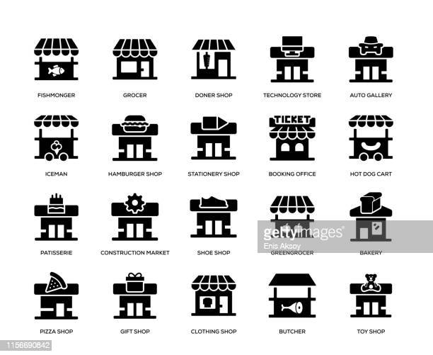 store building icon set - store stock illustrations