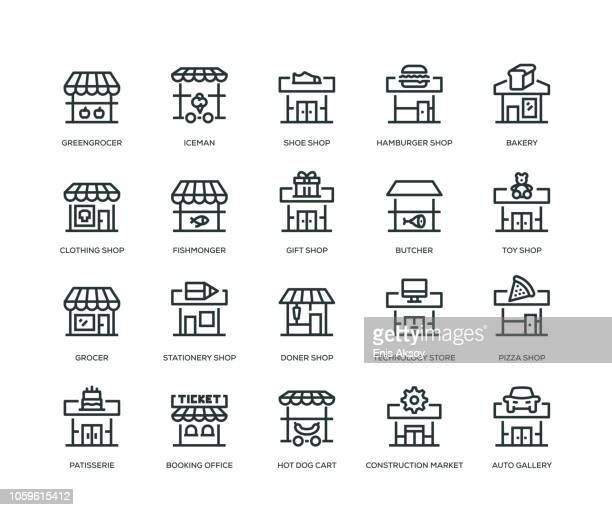 store building icons - line icons - boulanger stock illustrations
