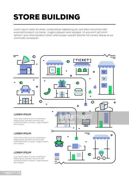ilustraciones, imágenes clip art, dibujos animados e iconos de stock de diseño infográfico de edificios de tiendas - boutique
