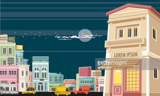 ilustrações, clipart, desenhos animados e ícones de loja da cidade - lorem ipsum