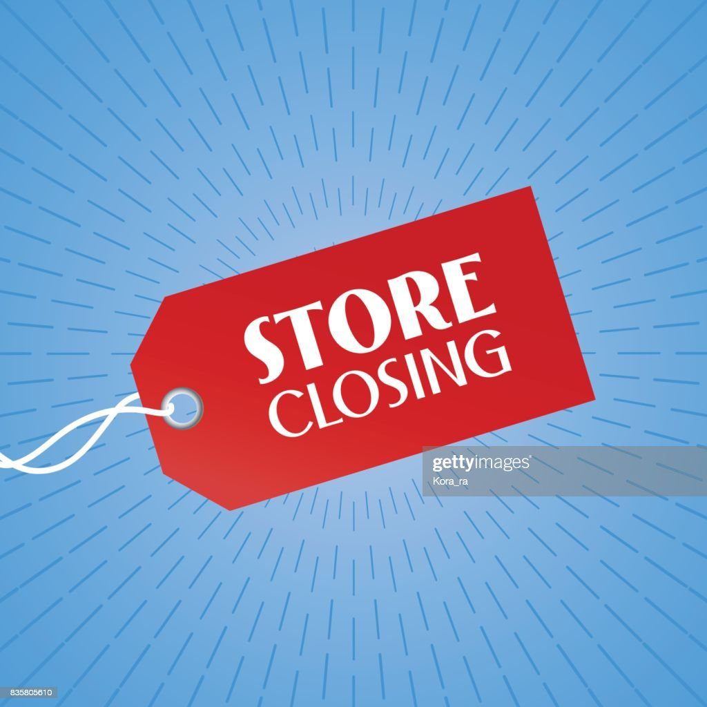 Store closing vector illustration, background with red color price tag